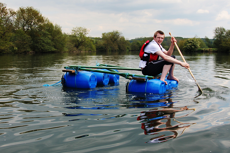 Seventeen-year-old Zack does rafting, as part of a programme of outdoor activities for youth disengaged from education. <br />Photo for Frontiers - New Horizons. <br />UNITED KINGDOM, Oxfordshire | 2010