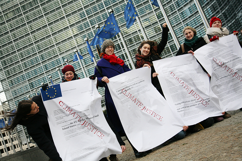 European youth demand climate justice for the Alliance of Small Island States &#40;AOSIS&#41; during an action outside the <br />European Commission at the time of the Durban COP17 climate talks. Photo for Young Friends of the Earth Europe. <br />BELGIUM, Brussels | 2011