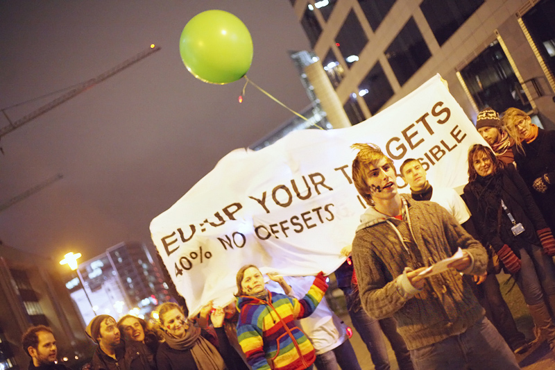 European youth demand stronger emissions reduction targets, 40% in line with science, during an action outside the EU <br />heads of state summit at the time of the COP17 Durban Climate Change Conference. Photo for Young Friends of the Earth Europe. <br />BELGIUM, Brussels | 2011