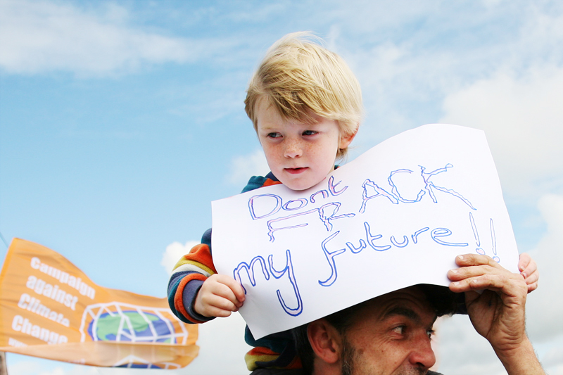 "A young Lancashire resident joins climate campaigners on Camp Frack march to oppose<br /> Britain's first hydraulic fracturing shale gas well, with the message ""Don't frack my future!""<br />UNITED KINGDOM, Southport 
